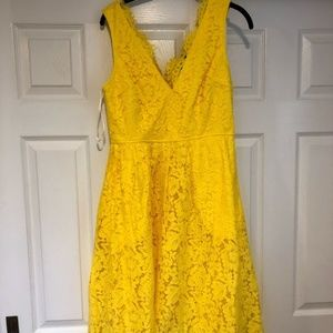 LuLus Love Swept Yellow Lace Midi Skater Dress